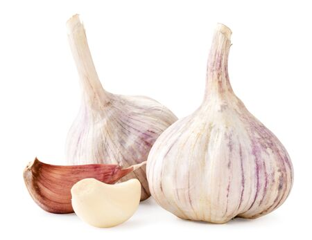 Foto für Heads of garlic unpeeled and peeled a clove closeup on a white background. Isolated - Lizenzfreies Bild