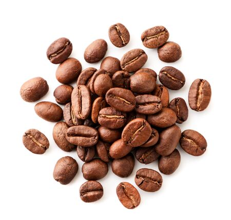 Photo pour Coffee beans close-up on a white background. Isolated, top view. - image libre de droit
