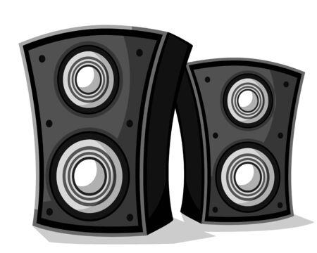 Illustration pour Two music speakers close-up on a white background - image libre de droit
