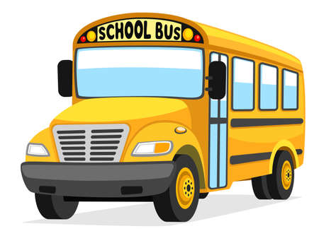 Illustration for Yellow school bus close up on white background, isolated - Royalty Free Image