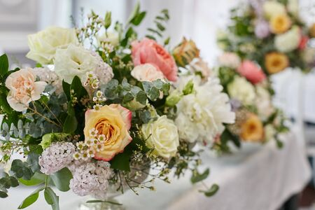 Photo for Flowers decoration for wedding table of newlyweds - Royalty Free Image