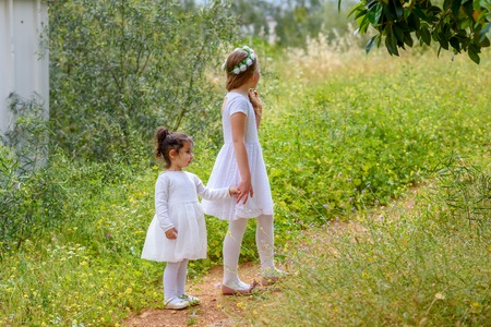 Foto per Portrait adorable small kids outdoor. Little children holding hands. Summer in love. - Immagine Royalty Free