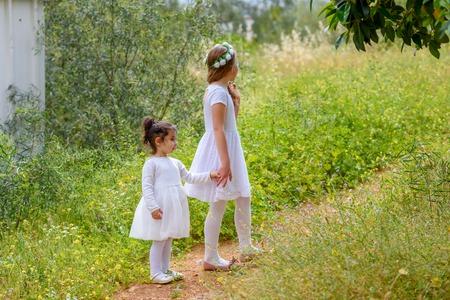 Foto de Portrait adorable small kids outdoor. Little children holding hands. Summer in love. - Imagen libre de derechos