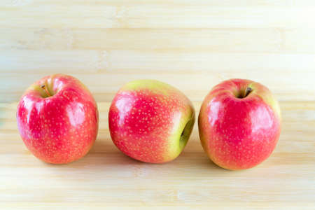 Photo for Red apples on wooden background.domination support fall friend concepts . - Royalty Free Image