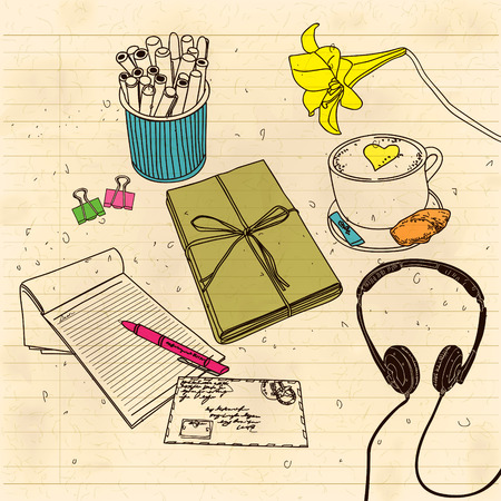 A letter with the headphones still life
