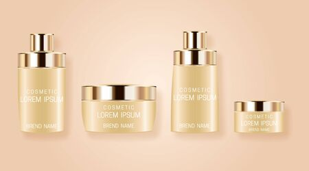 Illustration pour Set of realistic bottles for cosmetic products. Design of beautiful beige packaging with gold cap on pink background. Vector illustration. - image libre de droit