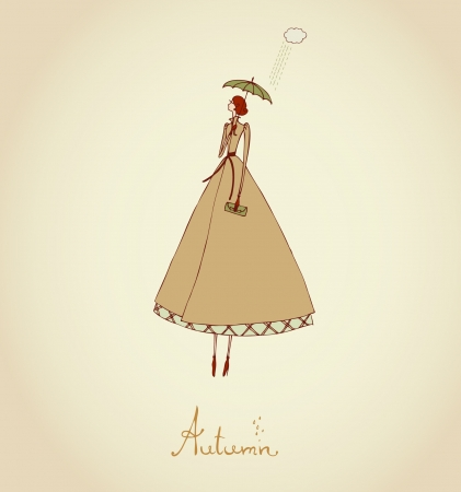 Hand drawn illustration and place for your text  Template with image of girl  Illustration set Four Seasons  Autumn