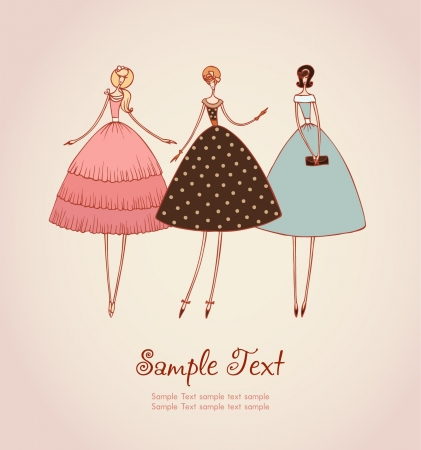 Ilustración de Template with image of three elegant romantic girls in retro stylish cocktail dresses  Hand drawn illustration and place for your text - Imagen libre de derechos