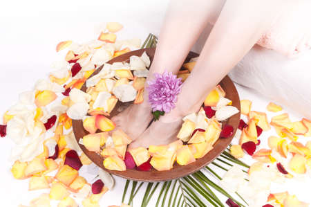 Spa Treatment for legs with aromatic rose petals