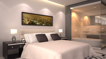 bright modern interior of hotel room or condominium