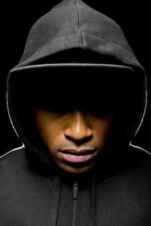 Portrait of a hooded black man tired of racial discrimination