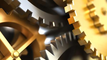 Photo pour Clockwork or a machine inside. Closeup gears and cogs. Industrial 3d illustration. - image libre de droit
