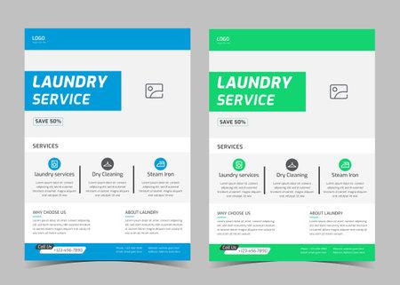Illustration pour Laundry service flyer template. Creative laundry service poster. Laundry cleaning service leaflet template. - image libre de droit