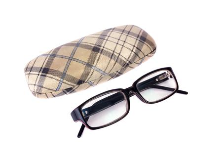 Photo pour Glasses and case isolated - image libre de droit