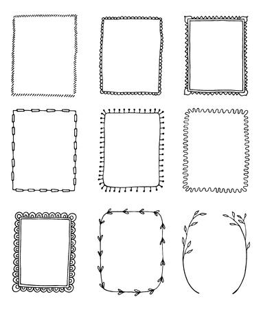 Illustration for set of hand-drawn doodle frames - Royalty Free Image
