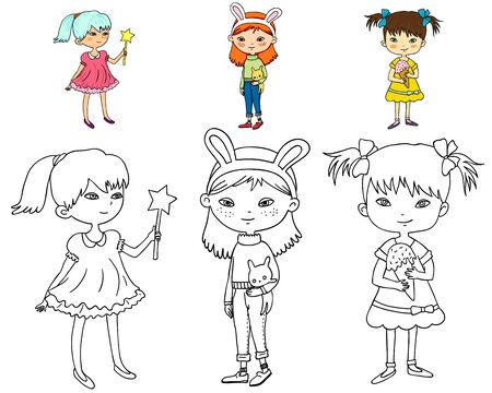 Illustration for three cute girls coloring book with color sample - Royalty Free Image
