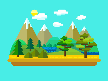 Vector flat landscape with mountains, forest and lake.