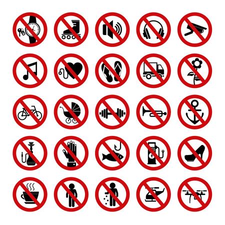 Illustration pour Set of red prohibition icons. Forbidden signs. Vector illustration. - image libre de droit