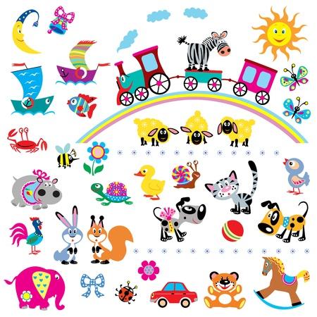 Foto de big vector set of simple children pictures for babies and little kids ,isolated on white background - Imagen libre de derechos
