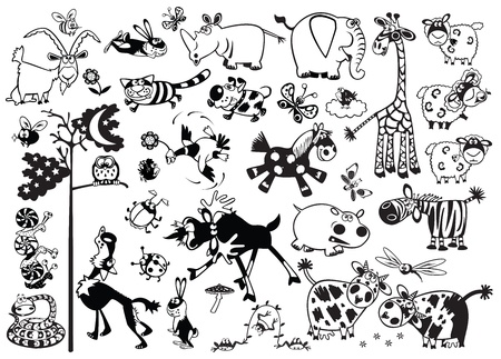 Photo for big cartoon set of childish most popular animals,black and white vector pictures for little kids - Royalty Free Image