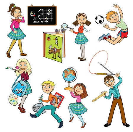 vector set with schoolchildren,children pictures isolated on white background