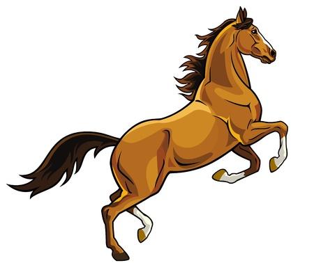 Ilustración de horse,rearing,image isolated on white background,brown stallion picture - Imagen libre de derechos