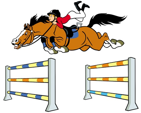 equestrian sport,boy with horse jumping a hurdle,cartoon illustration  isolated on white background