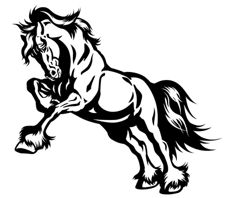 draft horse in motion black and white isolated illustration