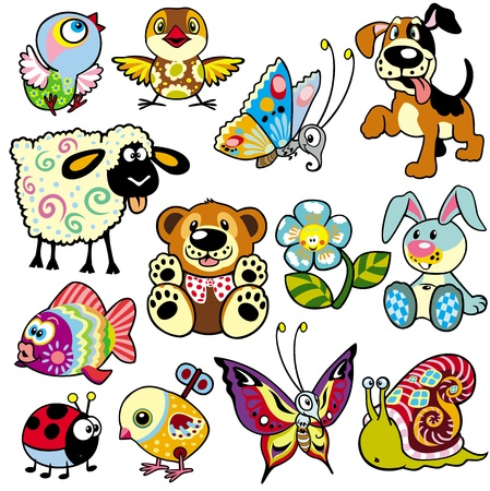 Photo pour set with cartoon animals and toys for babies and little kids - image libre de droit