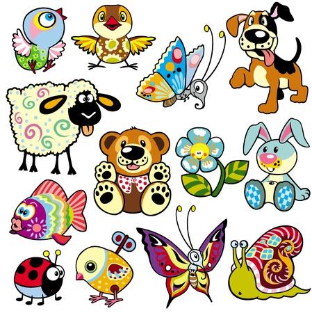 Foto de set with cartoon animals and toys for babies and little kids - Imagen libre de derechos