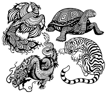 Illustration pour tiger,turtle,phoenix and dragon  Black and white set of four feng shui celestial animals  - image libre de droit