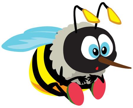 Ilustración de cartoon bee isolated on white - Imagen libre de derechos