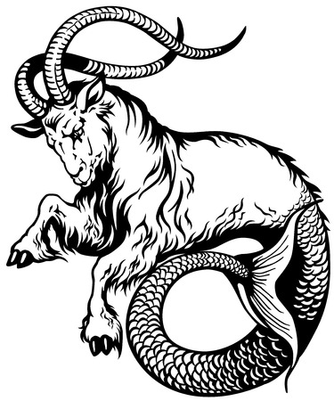 capricorn astrological zodiac sign, black and white tattoo image