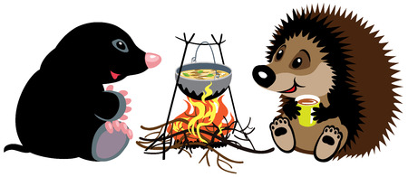 cartoon mole and hedgehog preparing food on campfire in wild camping, isolated image for little kids