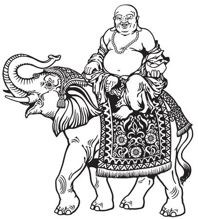 happy buddha riding elephant , black and white image