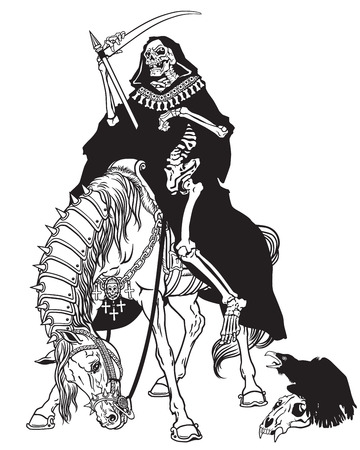 Illustration pour grim reaper symbol of death and time sitting on a horse and holding scythe. - image libre de droit