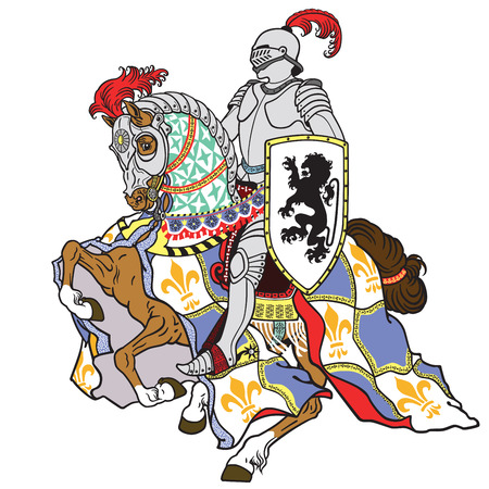 Illustration pour medieval knight riding armored horse in gallop isolated on white - image libre de droit