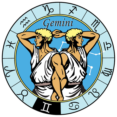 Illustration pour gemini astrological horoscope sign in the zodiac wheel - image libre de droit
