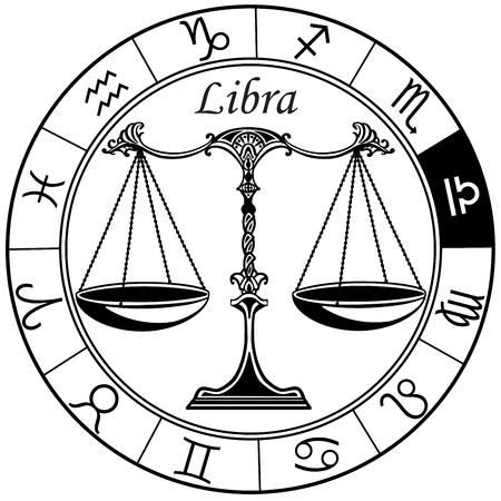 Ilustración de libra astrological horoscope sign in the zodiac wheel. Black and white vector illustration - Imagen libre de derechos