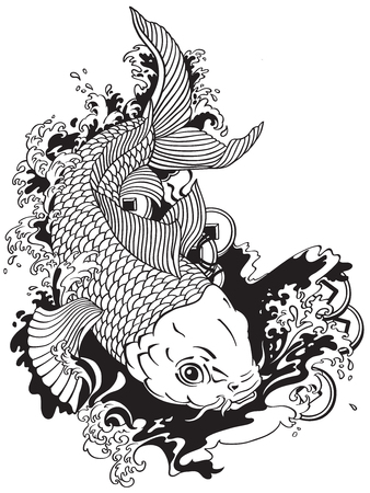 Illustration pour japanese carp koi gold fish swimming in a pond with feng shui money coins . Tattoo style black and white vector illustration - image libre de droit