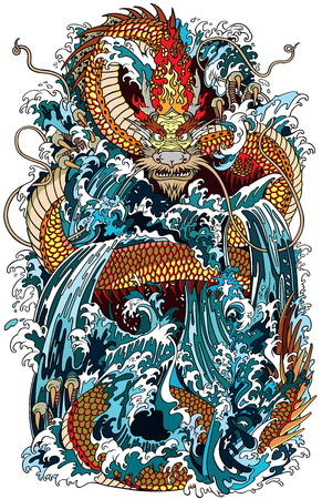 Illustration pour Japanese water dragon a traditional mythological deity creature in the sea or river splashes. Tattoo style vector illustration. - image libre de droit
