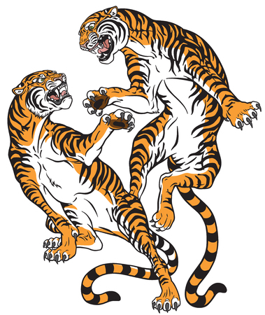 Pair of tigers in the battle, two fighting big cats. Tattoo style vector isolated illustration.