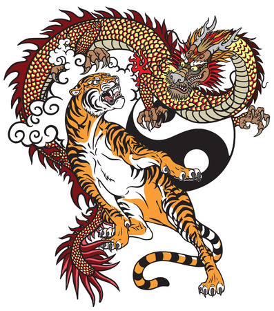 Illustration pour Chinese dragon versus tiger. Tattoo vector illustration included Yin Yang symbol - image libre de droit