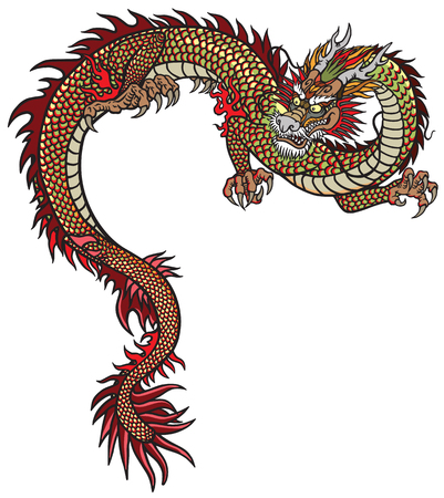 Illustration pour Eastern dragon . Tattoo style vector illustration isolated on white - image libre de droit