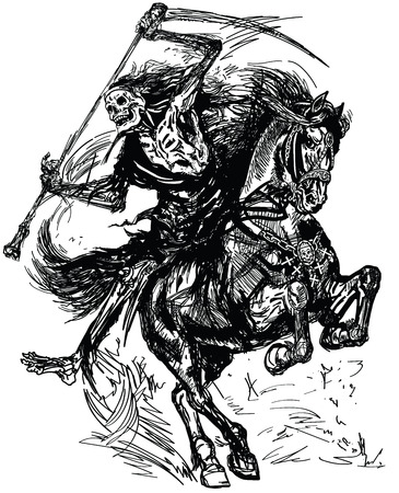 Illustration pour grim reaper horseman holding a scythe and sitting on horseback. Dark rider of the death. Horse in the gallop .Black and white tattoo style vector illustration - image libre de droit