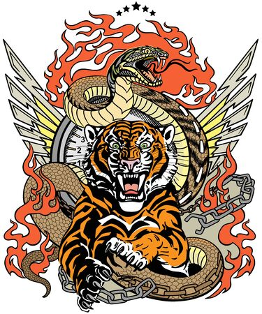 Illustration pour roaring tiger in the jump and snake like road. Design template include broken chain, tongues of flame and wings. Biker Tattoo. Vector illustration - image libre de droit