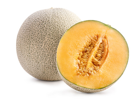 Foto de Beautiful tasty sliced juicy cantaloupe melon, muskmelon, rock melon isolated on white background, close up, clipping path, cut out. - Imagen libre de derechos