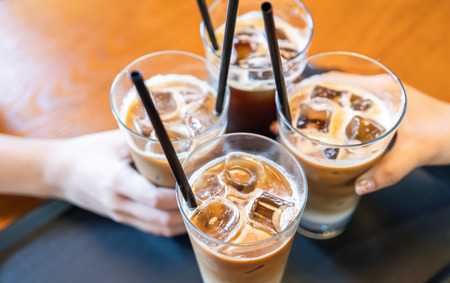Photo pour Party concept, girl with friends hold coffee cups and say cheers happy hangout together in cafe, lifestyle, copy space, top view, close up - image libre de droit