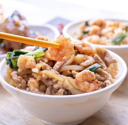 Photo for Braised shrimp and pork with rice - Royalty Free Image