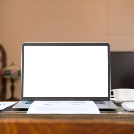 Photo pour Home office, blank monitor for design, working from home, web communication call, online meeting, remote worker concept, close up, template, mock up. - image libre de droit
